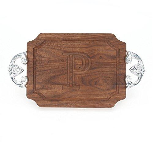 BigWood Boards W300-CL-P Cutting Board with Handles Monogrammed Wedding Gift Cutting Board Small Cheese Board Walnut Wood Serving Tray P