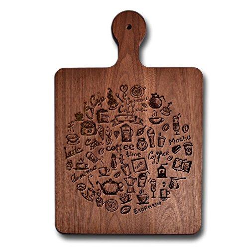 Short Handle Cheese Board Walnut Wood Cutting Board Coffe Time