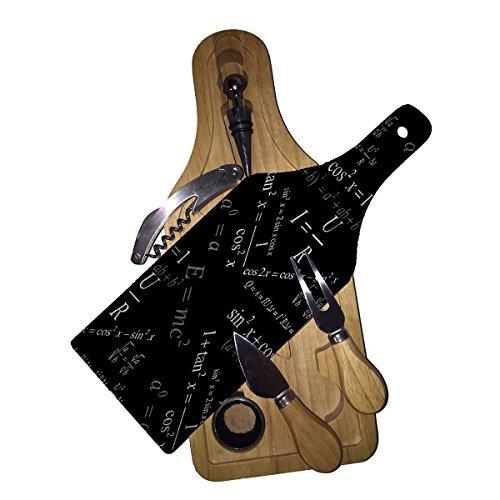 Math Physics - Wine Bottle Shaped Glass Cutting Board 6 Piece Wine Cheese Gift Box Set