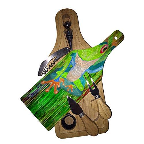 Tree Frog Yo - Wine Bottle Shaped Glass Cutting Board 6 Piece Wine Cheese Gift Box Set