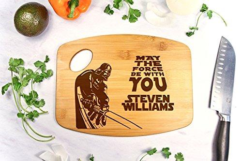 Personalized Cutting Board Engraved Bamboo Chopping Block Bamboo Handle - Star Wars Darth Vader