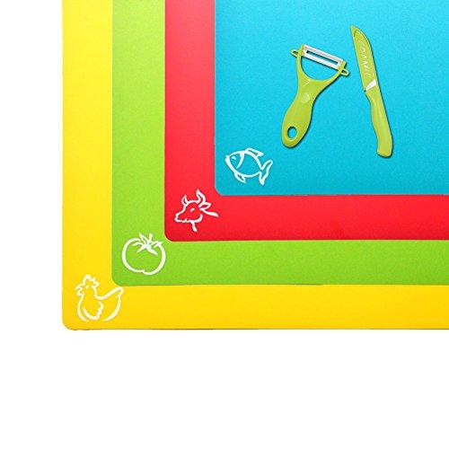 Plastic Cutting Board Flexible Cutting Mat Kitchen Cutting Board Set of 4 Piece Plastic Cutting Pad FDA Approved Eco Friendly