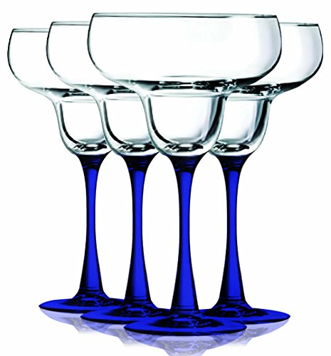 Cobalt Blue Margarita Glasses With Beautiful Colored Stem Accent - 14.5 Oz. Set Of 4- Additional Vibrant Colors