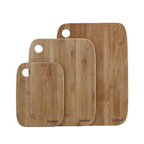 VonShef 3 Piece 100 Bamboo Wooden Cutting Board Set