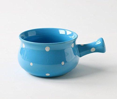 Ceramic Porcelain Polka dot Soup Bowl with Handle - French Onion Soup Bowl 2 BlueWhite