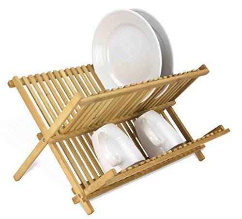 Home Basics Foldable Bamboo Dish Drainer