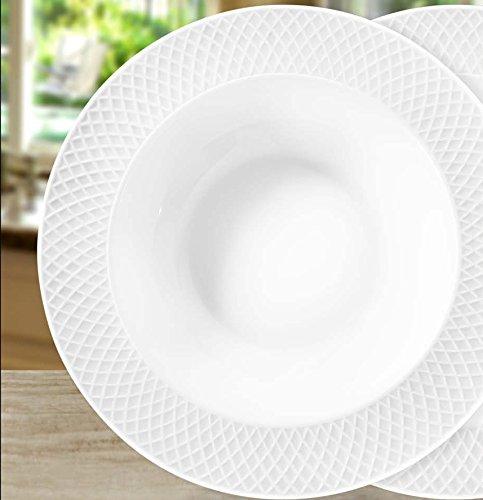Wilmax WL-880102 9 Julia Collection White Porcelain Deep Plate Classic European Bone China Serving Wide Rim Plates Gourmet Pasta Soup Bowls Gift Box Set of 6