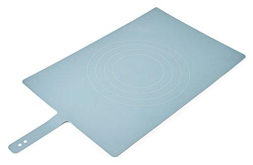 Joseph Joseph 20097 Roll-Up Non-Slip Silicone Pastry Mat with Measurements Lockable Strap 23-inch x 15-inch  Blue