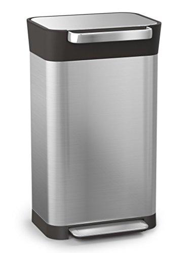 Joseph Joseph 30030 Intelligent Waste Titan Trash Can Compactor Stainless Steel 8 gallon Silver