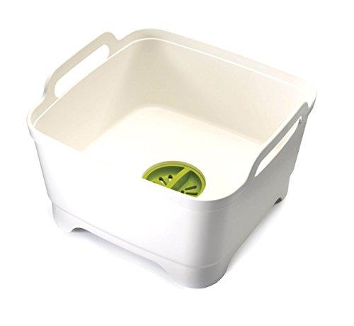 Joseph Joseph 85055 Wash Drain Wash Basin Dishpan with Draining Plug Carry Handles 124-in x 122-in x 75-in White