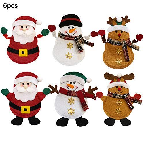 6Pcs Tableware Holder Pockets Cutlery Suit Knifes Forks Bag Creative Cartoon Santa Snowmen Reindeer Cutlery Set Table Dinner Decor Xmas New Year Christmas Decorations for Home Party Festival