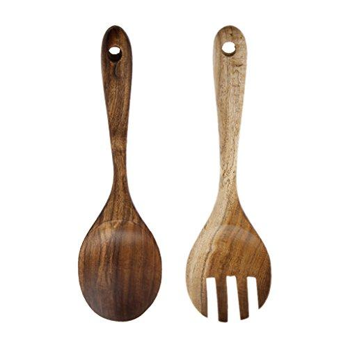 Milue Natural Kitchen Wooden Salad Dinner Serving Fork Spoon Cutlery Set Tableware