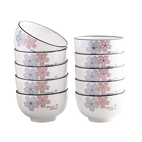 WKHQQ Bowls Porcelain Grain Bowl Chinese Ceramic White Dessert Rice Bowl Cutlery Set Table decoration