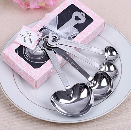Love Heart-Shaped Measuring Spoons For Wedding Favor and baby shower Set of 72