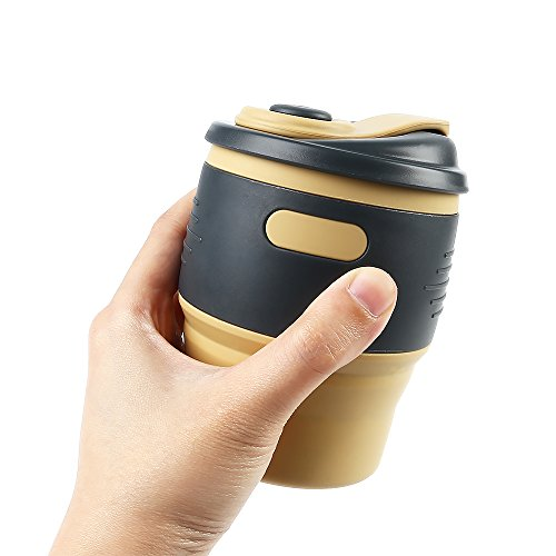 Collapsible Cup Silicone Portable Coffee Tea Water Cups for Home Outdoor Camping Backpacking Hiking School Office Traveling Yellow