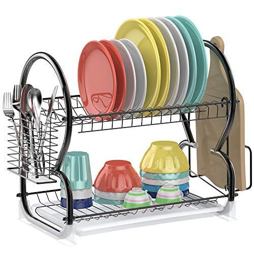 Dish Drying RackAce Teah 2 Tier Dish Drainer with Utensil Holder Stainless Steel Dish RackBlack