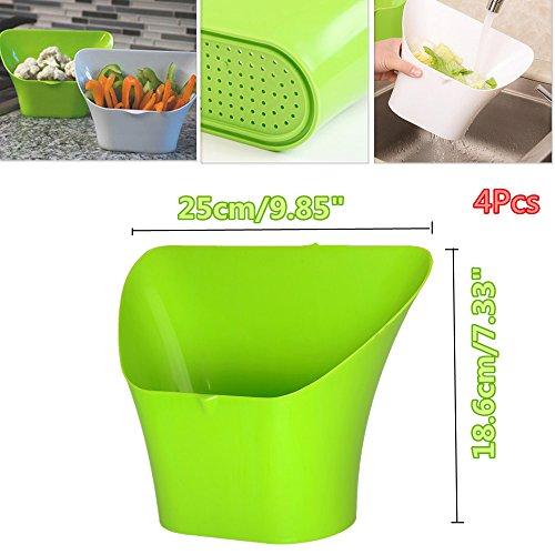 4PCS Multi-fonction Kitchen Sink Trash Drain Basket Kitchen Garbage Waste Bin Fruits Vegetables Salad Storage Baskets Plastic Green