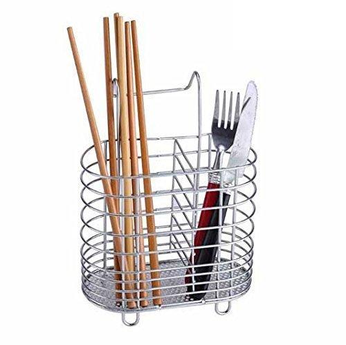 Cindy&Will Hanging 2 Compartments Mesh Utensil Drying Rack ChopsticksSpoonForkKnife Drain Basket Tableware Dinner Service Holder Cutlery Organizer Caddy Flatware Storage Drainer Chrome