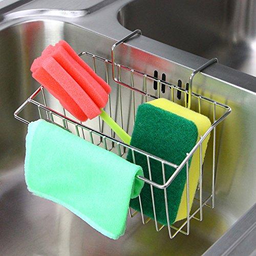 Sponge Holder Aiduy Sink Caddy Kitchen Brush Soap Dishwashing Liquid Drainer Rack - Stainless Steel