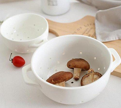 COJOY Ceramic Porcelain Colander Fruit Decor Strainer Bowl