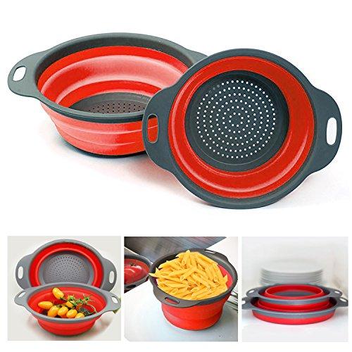 Collapsible Colanders Vipe 2pcs Food-Grade Silicone Kitchen Folding Strainer Bowl Colander Set for Vegetables Fruit Kitchen Tool