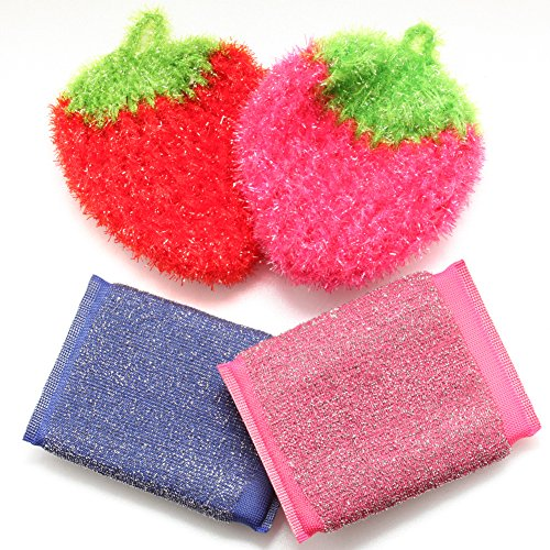 High Cleaner Scouring Sponges Kitchen Dish Scrubbers Strawberry Shape Dish wash Cloth Scourer