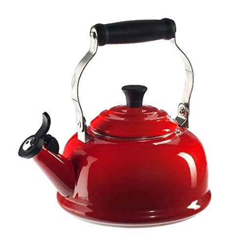Le Creuset Enamel-on-Steel Whistling 1-45-Quart Teakettle Cerise Cherry Red