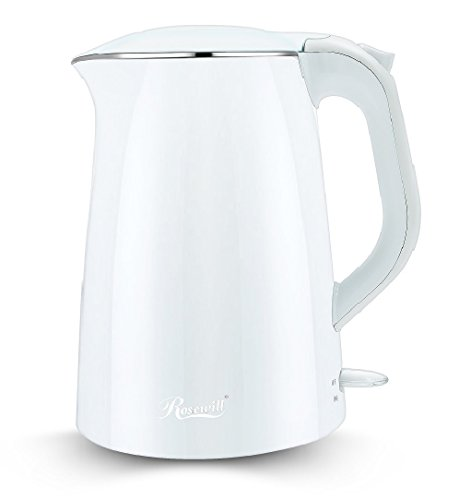 Rosewill Double Layer Insulated Stainless Steel Pot Double Wall Electric Tea Water Kettle Cool Touch Exterior 15 L White  RHKT-15001