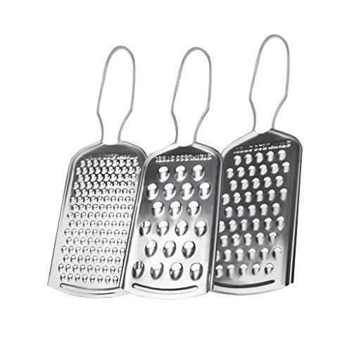 Food Grater Set of 3 Grater Stainless Steel Cheese Grater Set of 3 Graters for Kitchen with Hole Diameter 2 4 6 mm Fine Grater for Cheese Fruits Vegetables and Chocolate Set of 3 pcs