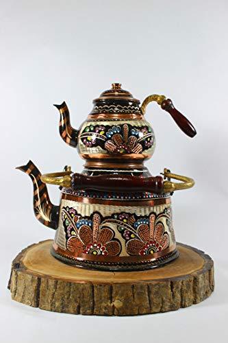 Anatolianmotifs Handmade Copper Teapot Tea Maker Turkish Traditional Handhammered Teapot Copper Samovar Stovetop