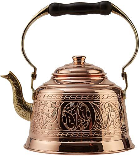 DEMMEX 2017 Heavy Gauge 1mm Thick Hammered Copper Tea Pot Kettle Stovetop Teapot Engraved Copper