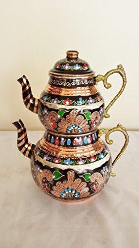 Handmade Turkish Copper Ottoman Inlaid Antique Stylish Teapot Kettle Tea Samovar
