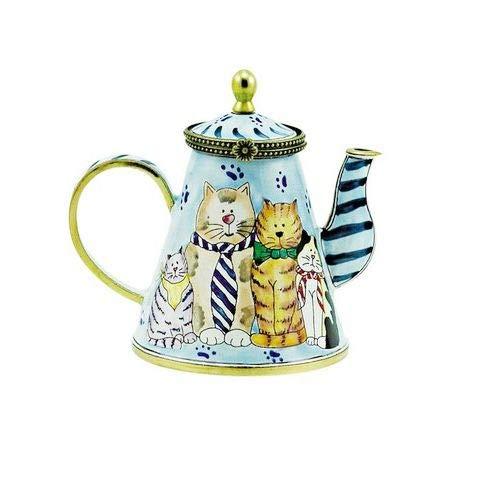 OKSLO Estelle cats in ties 4 -qt copper teapot