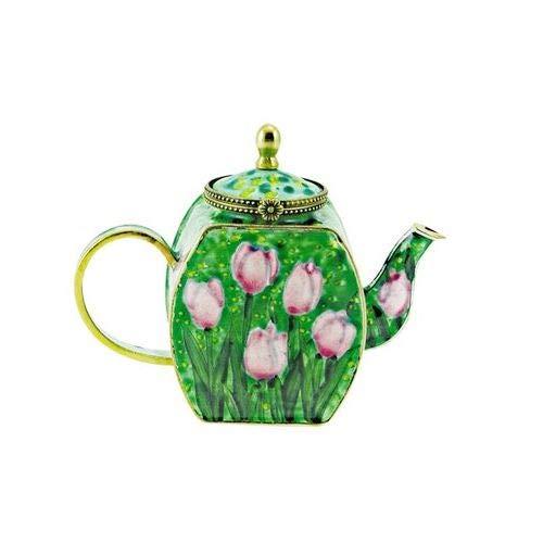 OKSLO Sylvie tulips queen of night 4 -qt copper teapot
