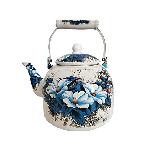 5L Large Capacity Enamel Kettle Blue Flowers Teapot For Induction Cooker Natural Gas Color  A