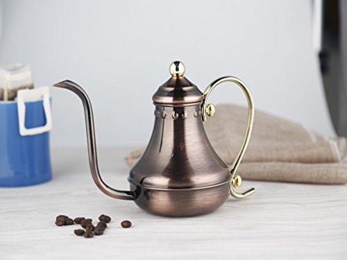 SMKF Pour Over Drip Coffee Kettle Stainless Steel COPPER GOOSENECK TEA KETTLE TEAPOT 430CC