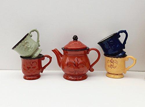 Tuscany Fleur De Lis 5 Piece Teapot Set