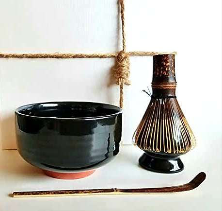 HARU MATCHA - Complete Matcha Tea Ceremony Gift Set Black - Matcha Chawan Bowl Bamboo Scoop Chashaku Bamboo Whisk 100 tate and Whisk Holder