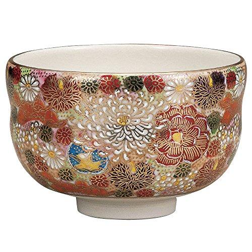 Japanese Matcha Bowl Gold Flower Kutani Yakiware