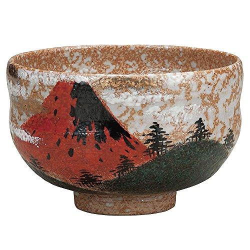 Japanese Matcha Bowl Red Fuji Kutani Yakiware