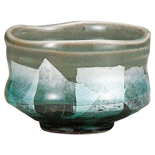 Japanese Matcha Bowl Silver Leaf Kutani Yakiware