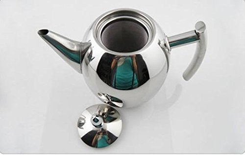 E-BroStainless Steel Teapot Tea Pot Coffee With Tea Leaf Filter Infuser Silver Heat Resistant 51oz