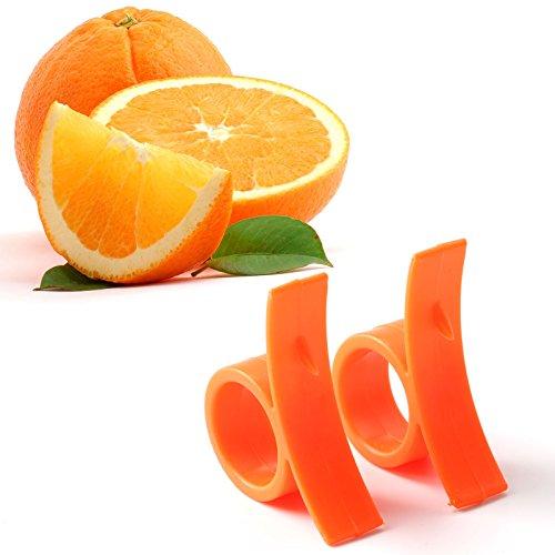 Happybuy Orange Peeler Orange Opener Peeler Slicer Cutter Plastic Lemon Citrus Fruit Skin Remover set of 2