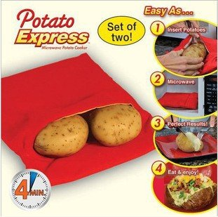 KINGSUNG 2 Pack Microwave Potato Cooker Bag- Potato Express Pouch Perfect Potatoes Just in 4 Minutes -Red
