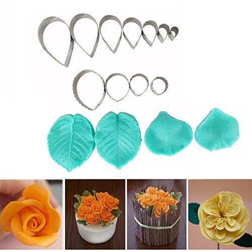Garwarm 15pcs Set of Rose Flower Cutter Decor Fondant Cake Cutters Cake Decorating Tools