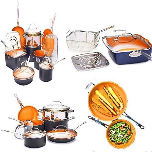 15-Piece Cookware Set Orange Color Ceramic Copper Nonstick Pans and Pots Set Titanium Bakeware Deep Fryer Cooking Utensil Set Kitchen Cooks Chef Cookware Set eBook by Easy&FunDeals