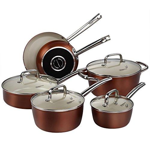 Pots and Pans Set Cooksmark Ceramic Cookware Set Copper Finish - Nonstick and Dishwasher Safe Oven Safe - 10 Piece
