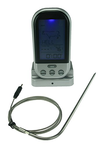 Wireless Digital Meat Thermometer with Stainless Steel Temperature Probe for Oven Smoker Grill and BBQ Cooker