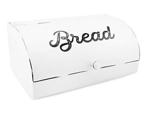 AuldHome White Bread Box Farmhouse Vintage Enamelware Countertop Bread Bin