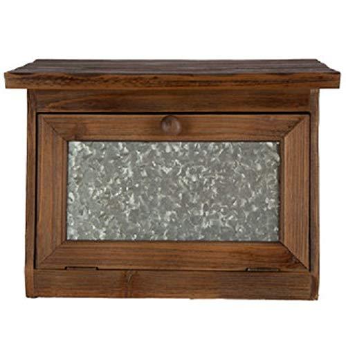 Generic Farmhouse Bread Box for Kitchen Counter - Rustic Wood Bread Bin StorageGrey Metal